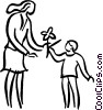 Vector Clipart image  of a woman with a child