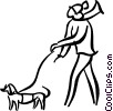Vector Clipart graphic  of a man walking a dog
