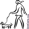person walking the dog Vector Clipart illustration
