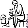 Vector Clip Art picture  of a gardener