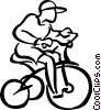 Vector Clip Art graphic  of a boy riding his bike