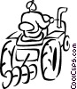 Vector Clip Art graphic  of a farmer on a tractor