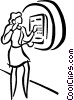 Vector Clip Art picture  of a woman talking on pay phone