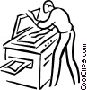 Vector Clipart image  of a man making a photocopy