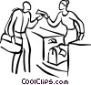 Vector Clip Art graphic  of a person checking the luggage