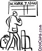 Vector Clipart graphic  of a person waiting at the airport
