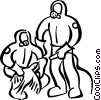people in toxic waste suits Vector Clip Art picture
