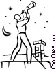 man looking through telescope Vector Clipart illustration