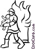 Vector Clip Art image  of a fireman saving a baby