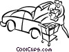 Vector Clipart illustration  of a woman loading groceries into a