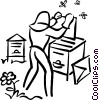 Vector Clipart graphic  of a beekeeper