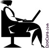 Vector Clipart illustration  of a woman working on a laptop