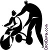 Vector Clipart picture  of a child learning to ride a