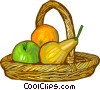 Vector Clip Art image  of a basket of fruit
