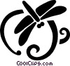 Vector Clip Art image  of a dragon flies