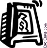 Vector Clip Art graphic  of a money bag inside of safe