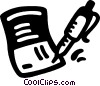 Vector Clipart graphic  of a check book and pen