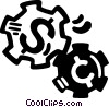Vector Clip Art image  of a money gears