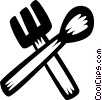 Vector Clip Art image  of a fork and spoon