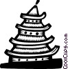 Vector Clipart illustration  of a Japanese temple