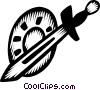 Vector Clipart graphic  of a sword and shield