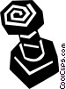 Vector Clipart illustration  of a nut and bolt