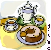 Vector Clip Art image  of a coffee pot and cups with