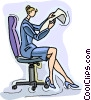 Vector Clip Art graphic  of a businesswoman reading report