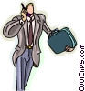 businessman on a cell phone Vector Clipart graphic