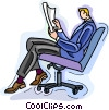 businessman reading a report Vector Clipart image