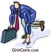 businessman about to run a race Vector Clipart picture