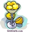 Lemons in a dessert bowl Vector Clipart picture