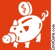 coin being put into a piggy bank Vector Clipart graphic