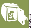 Vector Clip Art graphic  of a safe with a bag of money in it