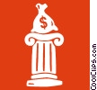 Vector Clip Art picture  of a bag of money on a column
