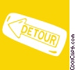 detour signs Vector Clipart illustration