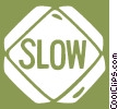 road sign, slow Vector Clip Art picture