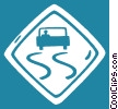 Vector Clipart illustration  of a slippery when wet sign