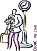 Vector Clip Art image  of a man standing with a bouquet of
