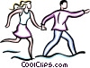 Vector Clip Art image  of a couple running
