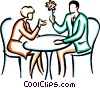 couples enjoying a conversation Vector Clipart image