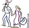 Vector Clip Art graphic  of a couple on a picnic