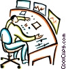 man working at a mixing board Vector Clip Art graphic