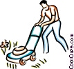 man cutting the grass Vector Clip Art picture