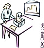 Vector Clip Art image  of a woman giving a presentation