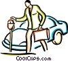 man putting money into a parking meter Vector Clipart illustration
