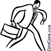 Vector Clip Art image  of a businessman running late for a