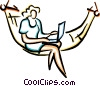 women sitting in a hammock working on laptop Vector Clipart image