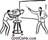 camera man and reporter doing a broadcast Vector Clipart illustration