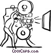 Vector Clip Art image  of a movie projector and operator